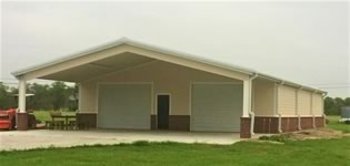 40' x 60' x 12' metal building constructed with brick painted ibeam