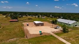Drone image of a custom metal barn / shop built to clients specs