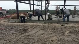 Concrete foundation finish work at an industrial facility