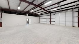 Interior view of a finished out storage / tractor metal shed